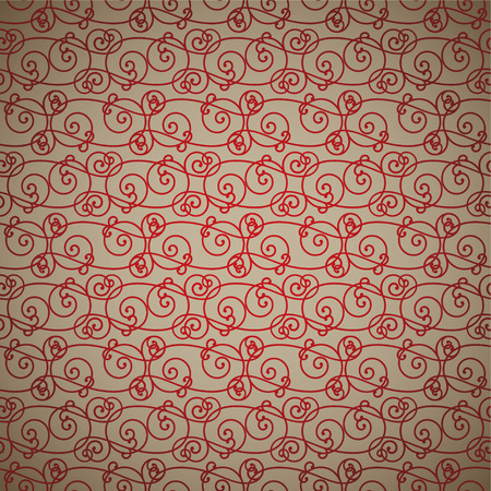 interlinking red and fawn abstract background repeating design Vector