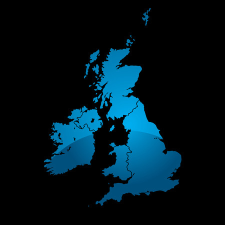 british isles: Blue map of the uk divided in two with a shadow and black background