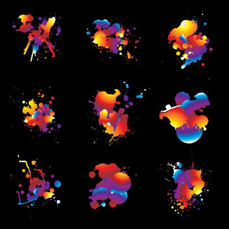 ink splat: Nueve dise�os con tinta s�mbolo arco iris de colores y fondo negro Vectores