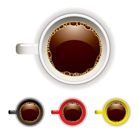 cup four: Top view of a coffee cup with four color variations