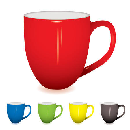 red morning: coffee cup with shadow and five colour variations