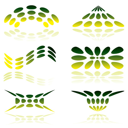 shades of green illustrated logo with reflected shadow Vector