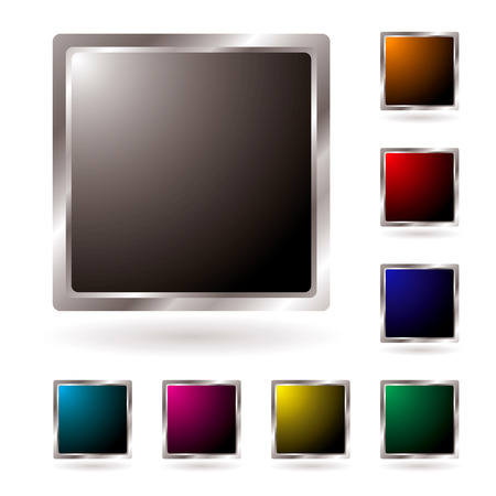 centers: Collection of silver edged icons with colored centers and shadow