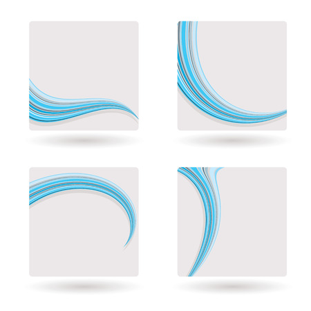 Blank white banners with drop shadow and blue swish