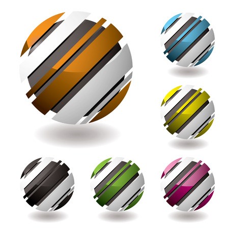 slant: business 3d icons with shadown and six color variations Illustration