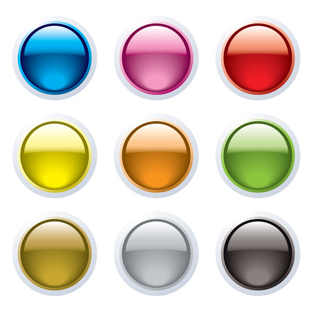Set of nine gel filled buttons with a white surround and reflection Stock Vector - 4428095