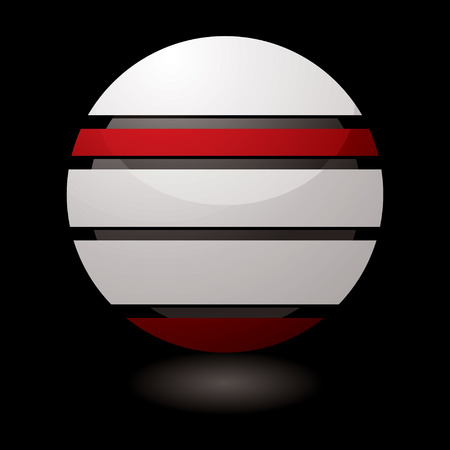 Futuristic white and red icon with a dark center and drop shadow Vector
