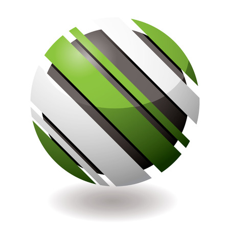 Green and white icon with slash elements at an angle with shadow Vector