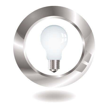 surround: Old style light bulb with metal surround and drop shadow