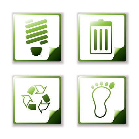 Simple clean eco icons with page curl and offset shadow Vector