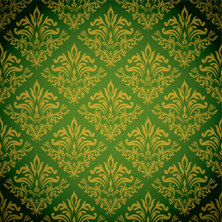 Green and gold background with a seamless repeat design Illustration