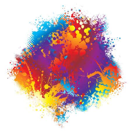 spatters: Inchiostro colorato arcobaleno spalt dot design con mezzitoni Vettoriali