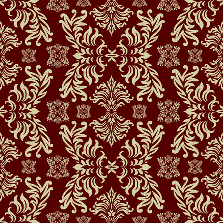Maroon seamless repeat design with a floral themed background Vector