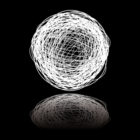 White ball of white string on a black background with reflection Stock Vector - 4484918