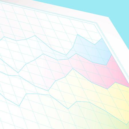 profit and loss: Business grafico mostrando profitti e perdite su un foglio bianco di carta grafico Vettoriali
