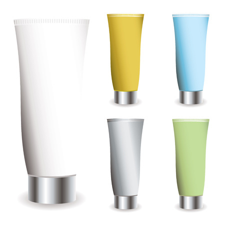 toothpaste tube: Cosmetic cream collection in different colred tubes with shadows Illustration