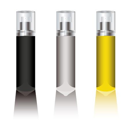 aroma therapy: Three blank deodorant sprays with plastic transparent tops