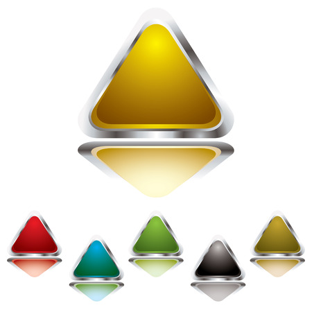 Collection of six gel filled triangle icons with silver bevel Vector