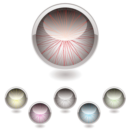 Eye inspired button collection with color variation and shadow Vector