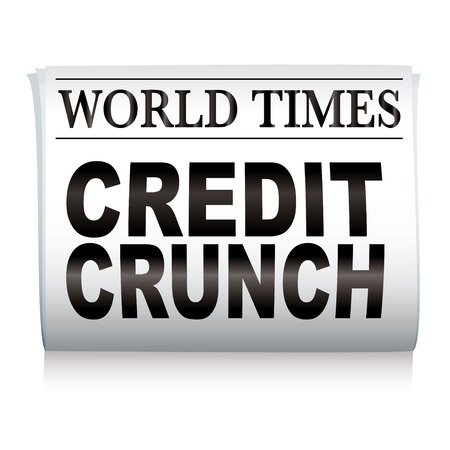 credit crunch: white newspaper with credit crunch headlines and shadow Illustration
