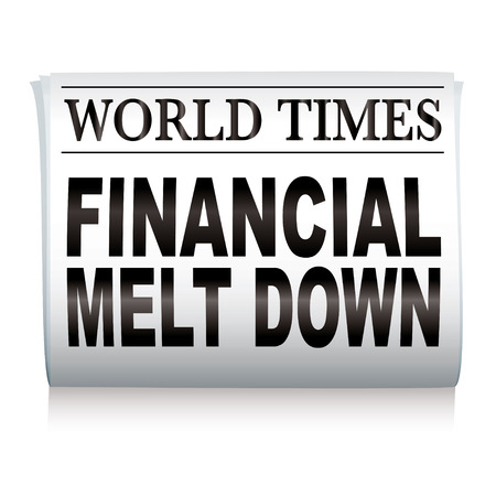broadsheet: Financial credit crisis newspaper headline on white illustrated paper Illustration
