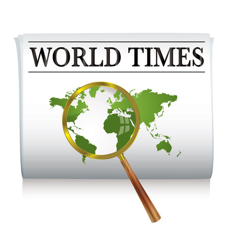 Newspaper with a map of the world and a magnifying glass Stock Vector - 4504851