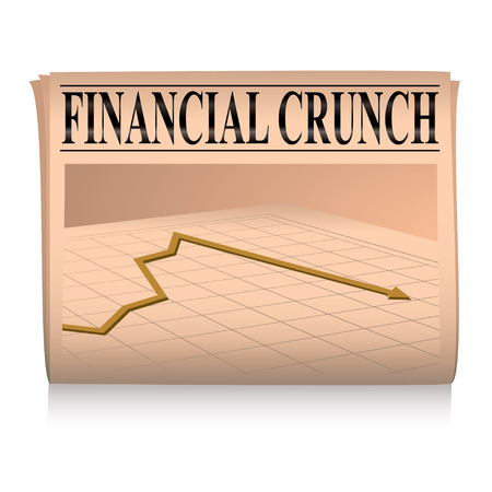 crunch: financial paper showing a graph of the credit crunch with sales down