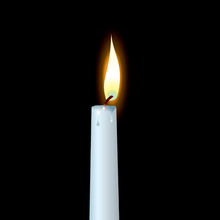 dribble: white candle with wax dribble and buring flame Illustration