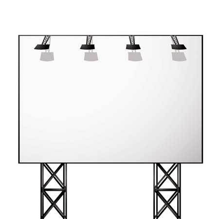 truss: White blank billboard with black metal truss frame
