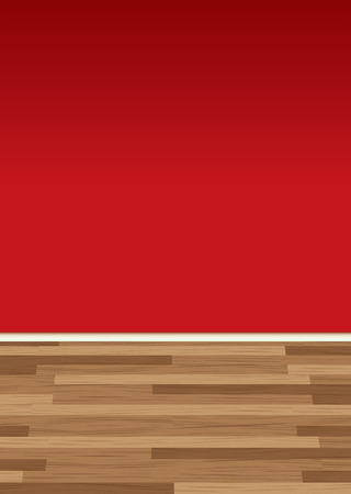 Dark red wall of room to add text with a wooden floor Vector