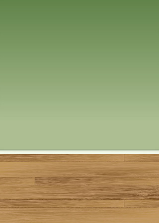 View of a wooden floor with a blank green wall and skirting board Vector