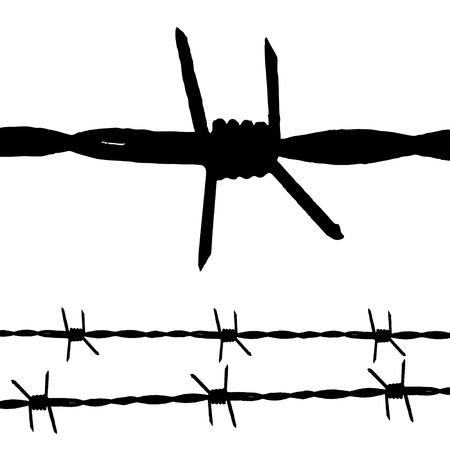 fil de fer: Grande silhouette de quelques fils de fer barbelés et une chaîne sans faille Illustration