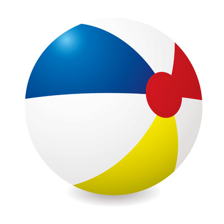 beachball: Illustrated beach ball with different colored sections and shadow