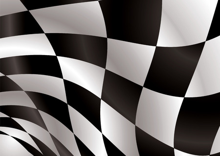waved: Black and white checkered flag being waved in the wind