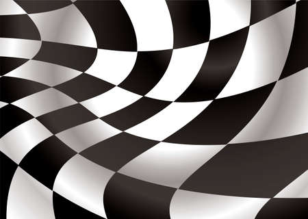 checkered flag flapping in the wind with black and white squares Stock Vector - 4537010