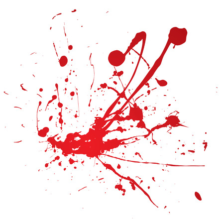 blood stain: Blood spray splat isolated over a white background Illustration