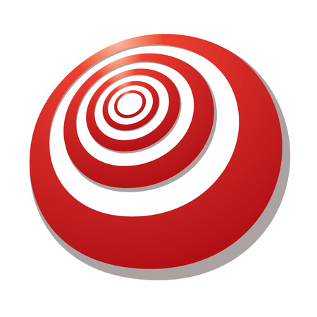 targets: Red target with a shadow drawn in perspective at an angle Illustration