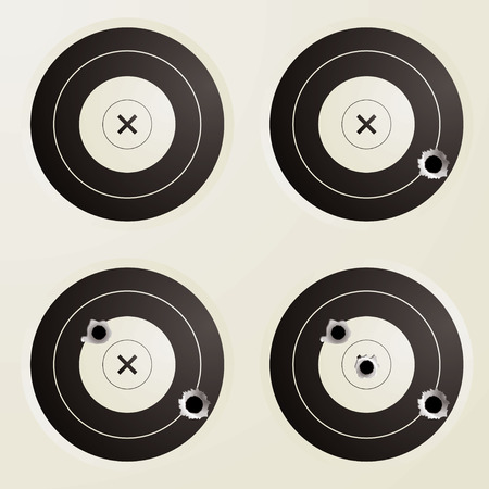 Collection of four targets with increasing amounts of bullet holes Vector