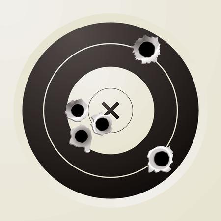 gaten: schieten doelgroep in het zwart en gebroken wit met kogelgaten Stock Illustratie