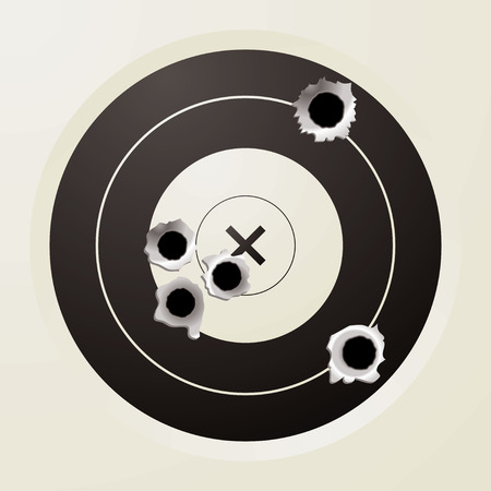 shots: shooting target in black and off white with bullet holes Illustration