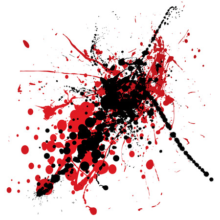 dribble: red and black ink splat with blood like dribble Illustration