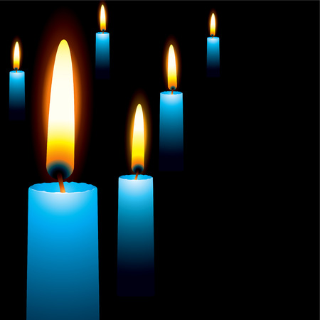 manner: wax blue illustrated candles laid out in a random manner religious service
