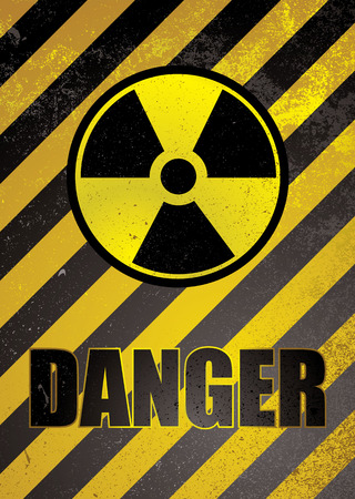 Warning poster in yellow and black stripes with nuclear image Vector