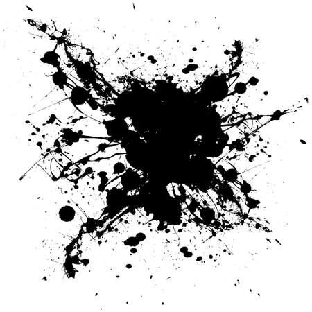 spatters: Inchiostro bianco e nero simbolo casuale con forme e sporco grunge effetto