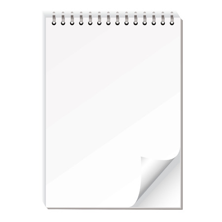 Blank white note pad with ring bind and shadow effect