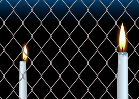 wire fence seperating two wax candle showing hope and peace Vector