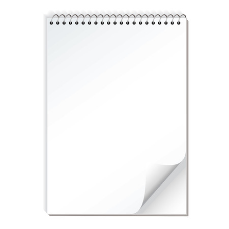 pocketbook: Spiral bound illustrated note pad with realistic shadow and page curl