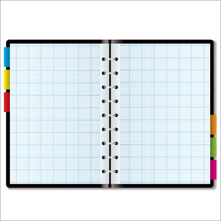 organizer page: Gr�fico ilustra el papel del libro en una nota de color con pesta�as