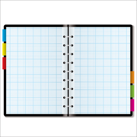 planner: Illustrated graph paper in a note book with colored tabs