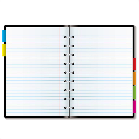 tabbed folder: Illustrated diary or organiser with blank pages with room to add your own text